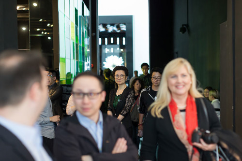 Guests fill the Design Wing for its grand opening and the G+PARK fifth anniversary party.